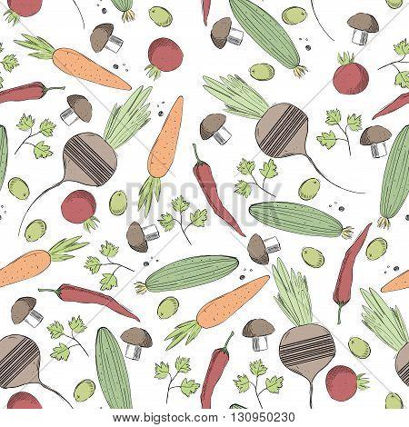 Vegetables hand drawn colorful pattern .Restaurant menu or food market design