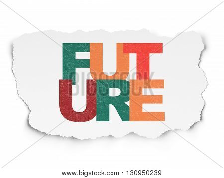 Timeline concept: Painted multicolor text Future on Torn Paper background