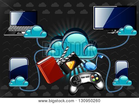 New cloud technology with multimedia and gadgets