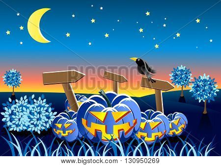Night landscape with crow and scary helloween's pumpkins