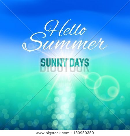 Blurred background with sun and sea for your summer design