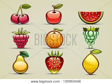 Set of nine glossy fruits and berries