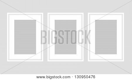 Wall art poster set of three white A4 frames. Template vector mock up for room interior or exhibition banner.