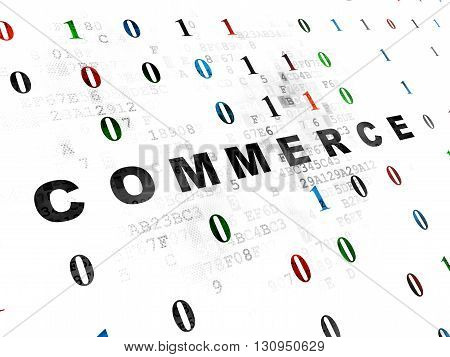 Business concept: Pixelated black text Commerce on Digital wall background with Binary Code