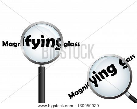 Magnifying glass, positioned over text, isolated on white