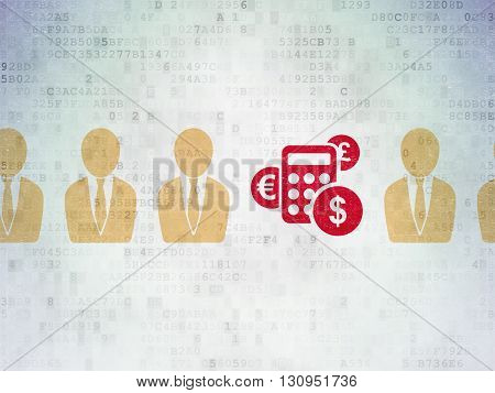 Finance concept: row of Painted yellow business man icons around red calculator icon on Digital Data Paper background