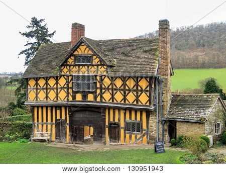 STOKESAY ENGLAND - FEBRUARY 21: The Gatehouse viewed from South Tower at Stokesay Castle. In Stokesay Ludlow England. On 21st February 2016.