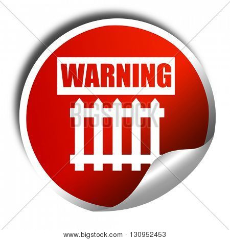 Railway warning sign, 3D rendering, red sticker with white text