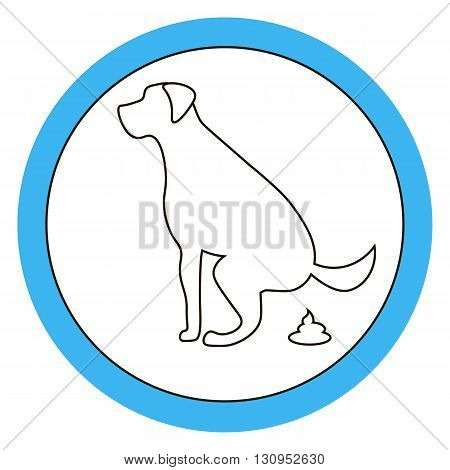 Dog pooping sign white silhouette on blue background Ecological cleanliness of the environment taking care of pets.