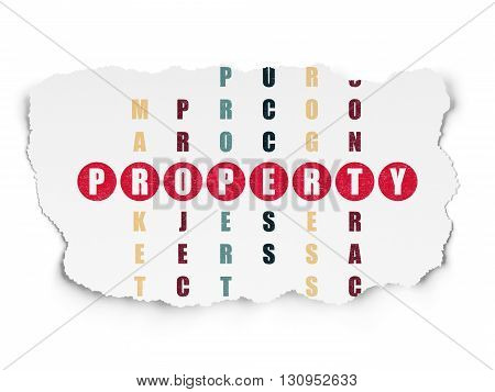 Business concept: Painted red word Property in solving Crossword Puzzle on Torn Paper background