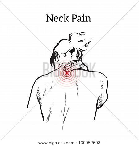 Pain in the neck of a woman. Spine disease or muscle overexertion concept in black and white illustration