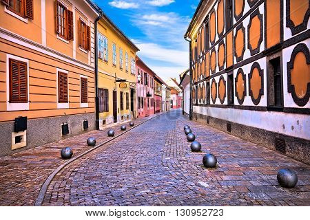 Old street of baroque town of Varazdin northern Croatia