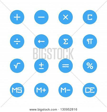 button calculator white flat icons set 16