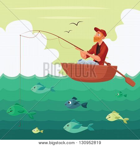 Redheaded bearded Fisherman sitting in the boat comic image with a fishing rod on the river, hunting for fish.
