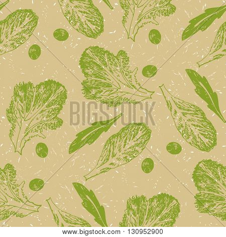 Hand Drawn Sketch Vector Seamless Pattern Vegetable Green Salad