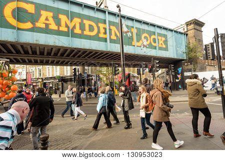 Camden Lock Bridge And People