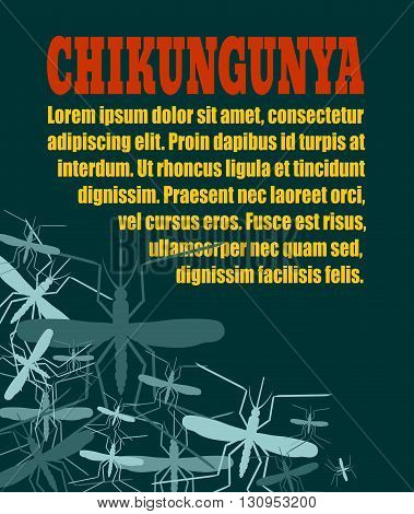 Modern vector brochure report or flyer design template. Medical industry biotechnology and biochemistry. Scientific medical designs. Mosquito transmission diseases relative. Chikungunya virus