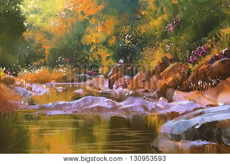 river lines with stones in beautiful forest, nature, illustration painting