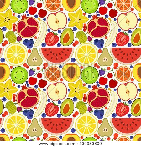 Colorful seamless background. Different fruits and berries. Vector illustration.
