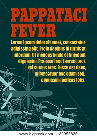 Modern vector brochure report or flyer design template. Medical industry biotechnology and biochemistry. Scientific medical designs. Mosquito transmission diseases relative theme. Pappataci fever