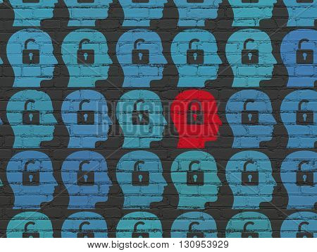 Privacy concept: rows of Painted blue head with padlock icons around red head with padlock icon on Black Brick wall background