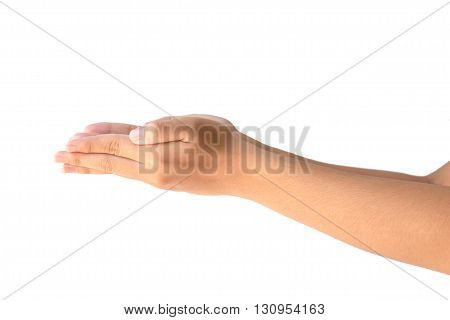 Closeup of two hands holding empty isolated on white background.