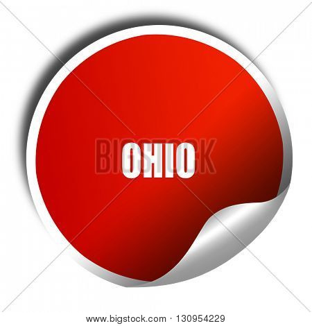 ohio, 3D rendering, red sticker with white text