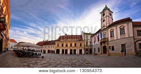 Baroque town of Varazdin main square panorama northern Croatia