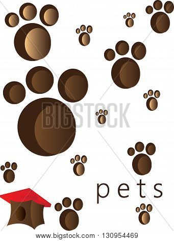 Pets and animals foot steps and traces with a small red roof cage. Digital vector image.