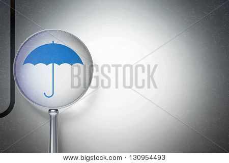 Security concept: magnifying optical glass with Umbrella icon on digital background, empty copyspace for card, text, advertising, 3D rendering