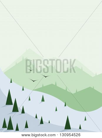 Abstract landscape with pine trees snow birds and green hills over a light green background. Digital vector image.