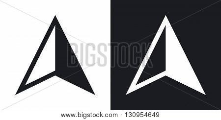 Vector gps arrow icon. Two-tone version on black and white background