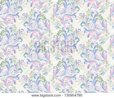 Vector illustration of seamless pattern with abstract flowers. Floral background. Seamless floral pattern in delicate blue pink. Hand drawing ornamental elements.