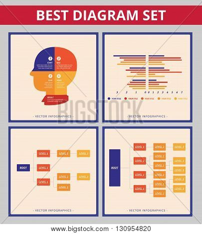 Business diagram set. Templates for tree diagram, bar chart and head silhouette diagram