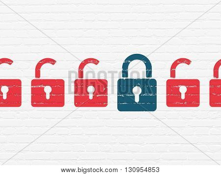 Privacy concept: row of Painted red opened padlock icons around blue closed padlock icon on White Brick wall background