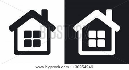 Vector home icon. Two-tone version on black and white background