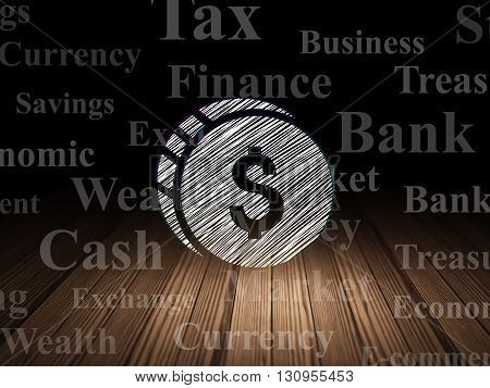 Money concept: Glowing Dollar Coin icon in grunge dark room with Wooden Floor, black background with  Tag Cloud