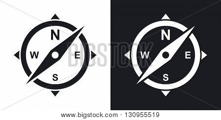 Vector compass icon. Two-tone version on black and white background