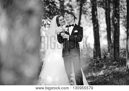 Stylish Smiled Newlyweds Stay On Park And Hugging. B&w Photo
