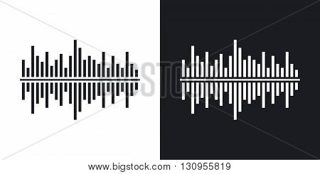 Vector digital equalizer icon. Two-tone version on black and white background