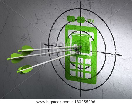 Success banking concept: arrows hitting the center of Green ATM Machine target on wall background, 3D rendering