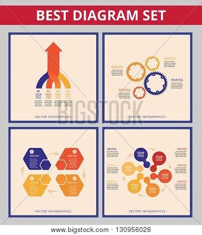 Business diagram set. Editable templates for process diagram, gear wheel chart and arrow diagram