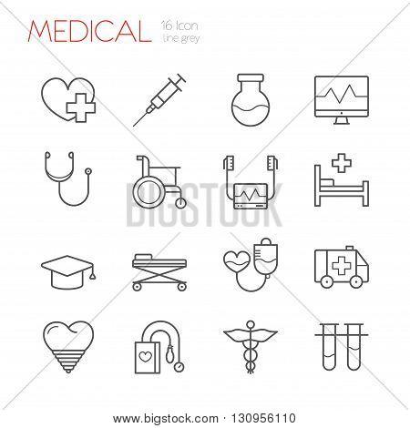 Medicine Line gray icons set of 16