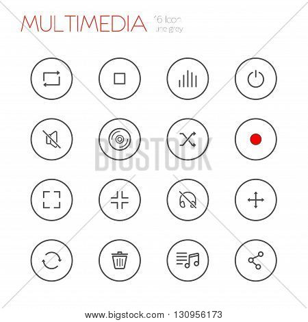 multimedia line gray icons set of 16