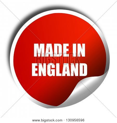 Made in england, 3D rendering, red sticker with white text