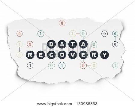 Data concept: Painted black text Data Recovery on Torn Paper background with Scheme Of Binary Code