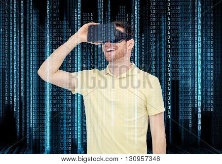 3d technology, virtual reality, programming, entertainment and people concept - happy young man with virtual reality headset or 3d glasses over blue binary code numbers and black background