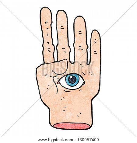 freehand textured cartoon spooky hand with eyeball