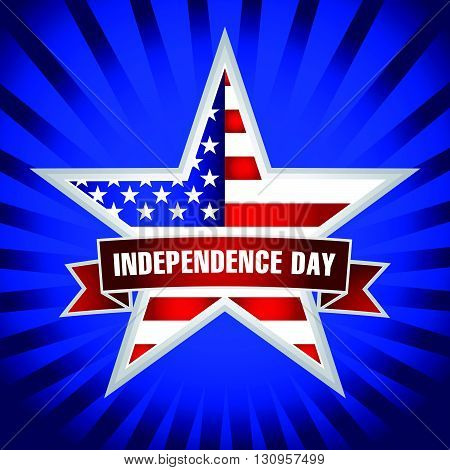 American Independence Day card with star in national flag colors on the dark blue background. Independence day USA star and ribbon dark blue. 4th of July