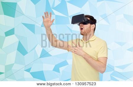 3d technology, virtual reality, entertainment and people concept - amazed young man with virtual reality headset or 3d glasses playing game over low poly background
